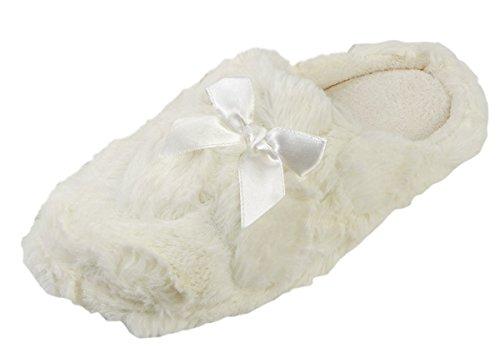 Pantuflas de mujer, piel sintética, espuma viscoelástica, interior cálido crema