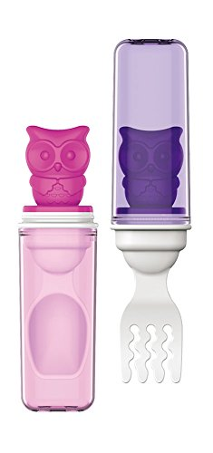 Edison Baby Spoon & Fork in One Set BPA-Free (Pink / Purple)
