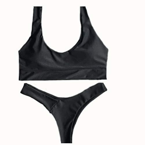Bain Bikini coloré Yingsssq Fendu M Pour Femme Taille Triangulaire bikini De Noir maillot q6wCwHx