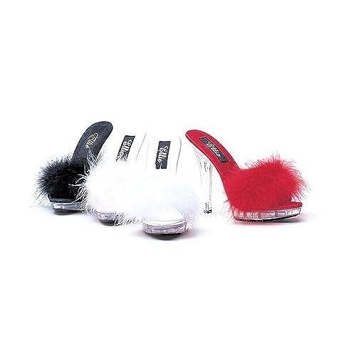 """305-SASHA, 3"""" Heel Marabou Slipper., White"""