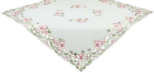 iry Garden Sheer Embroidered Cutwork Spring Table Topper, 36 by 36-Inch ()