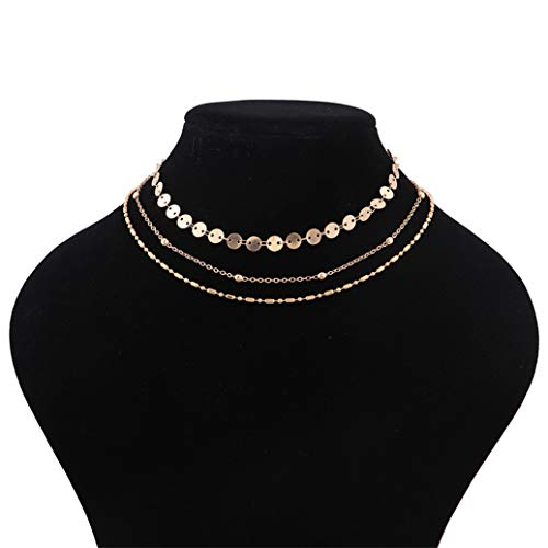 GOMYIE Multi-Element Multi-Layer Crystal Necklace Copper Bead Sequin Pendant Clavicle Chain For Women(Gold ()