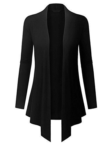 TWKIOUE Cardigan Women, Women's Casual Long Sleeved Open Front Lightweight Drape Cardigan Black (Drape Front Short)
