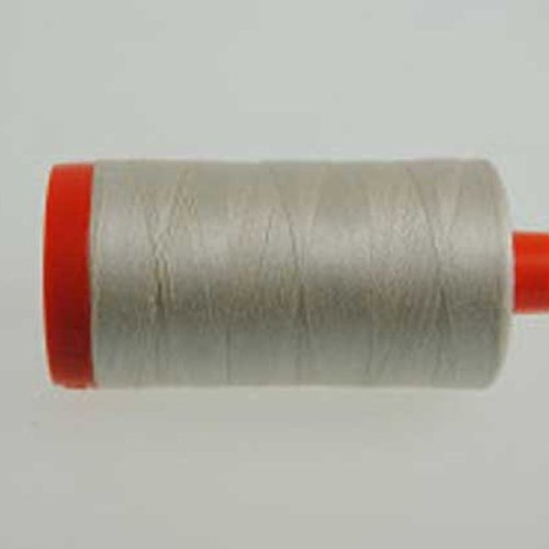 Aurifil Mako Cotton 12 Weight 2 Ply Large Spool 386 Yards 325 Meters Silver White by Aurifil