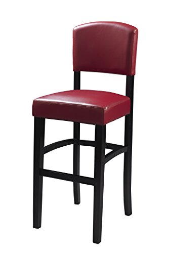 Linon Monaco Stool, 24-Inch, Dark Red
