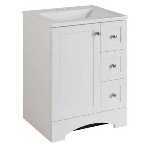 "cheap Bathroom Vanity Cabinet in White with Alpine Vanity Top, 24"" with Single Door and Three Side Drawers"