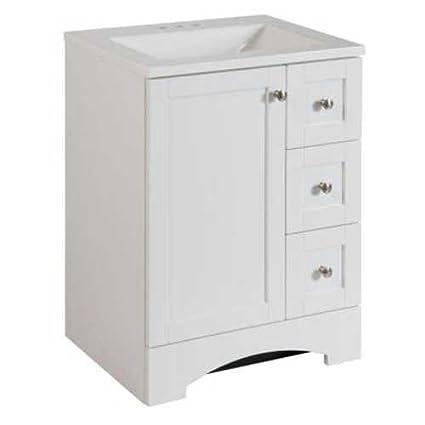 Bathroom Vanity Cabinet In White With Alpine Vanity Top, 24u0026quot; With  Single Door And