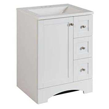 Bathroom Vanity Cabinet In White With Alpine Vanity Top With