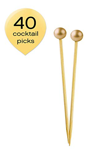 Simply Baked Small Appetizer & Cocktail Pick Metallic Gold Ball on Natural Wood Pick 3.5 Inch 40-Pack Disposable and Sturdy