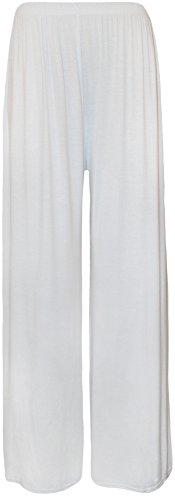 WearAll Plus Size Women's Palazzo Trousers - White - US 12-14 (UK 16-18)