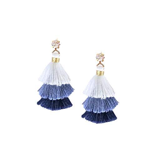 Amazon Com Mini Pagoda Tassel Earrings In Blue Handmade