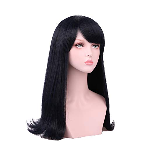 Yilys Long Straight Black Mixed Dark Blue New Anime Cosplay Wig for women Girls
