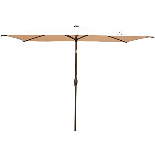 Abba Patio Rectangular Patio Outdoor Market Table Umbrella with Push Button Tilt and Crank, 6.5 by 10 Ft, Beige