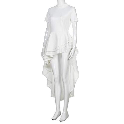 Mujeres Cóctel Noche Fiesta Con Pliegues Corta Manga Blanco De Las Vintage Elegantes Lenfesh Volantes Vestido Retro Para Cortas Cp8wBwqA