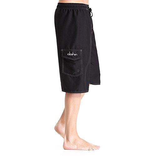 Clothin Men's Swimming Quick-dry Sports Surf Board Beach Shorts Black(Elastic) US 34