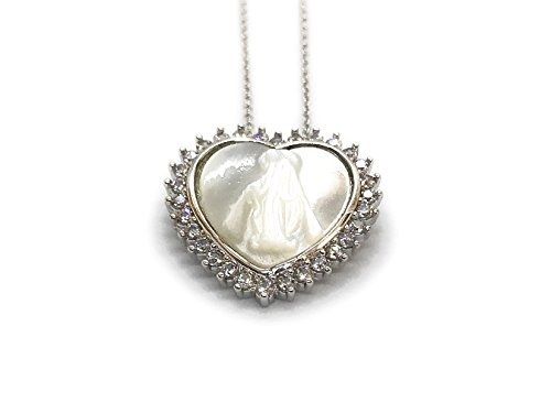 (LESLIE BOULES Miraculous Medal Silver Plated Chain 18