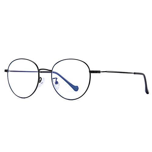 JHHXW Anti-Blu-ray Glasses, Retro Literary Round UV Flat Mirror Fashion Thin-Sided Metal nearsight Glasses Frame,Black