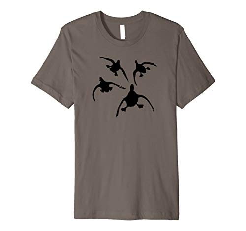 Four Coming In - Duck Hunting Shirt by Committed Waterfowl Premium T-Shirt (Best Duck Hunting In Louisiana)