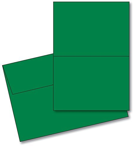 [Holiday Christmas Green Blank 5x7 Greeting Cards with Green A7 Envelopes. (25 Per Pack)] (Green Holiday Invitation)