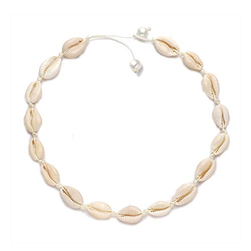 MOLOCH Natural Shell Necklaces Boho Handmade Cowrie Shell Choker Necklace Anklet Bracelet Set Adjustable Beach Conch Jewelry for Women Girls (Pearl end) ()