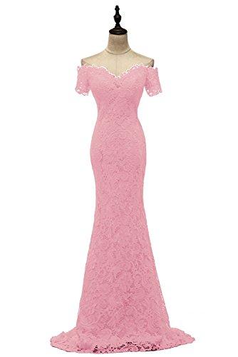 Sleeve Pink1 BessWedding Short Evening Sweetheart Prom Dress Floor Length Lace Women's OqqnRHwxBA