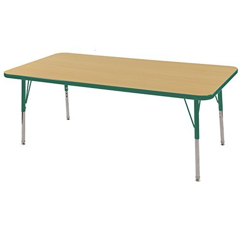 ECR4Kids Thermo-fused 24' x 60' Rectangular  School Activity Table, Standard Legs w/ Swivel Glides, Adjustable Height 19-30 inch (Maple/Green)