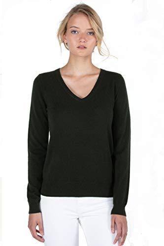 JENNIE LIU Women's 100% Pure Cashmere Long Sleeve Pullover V Neck Sweater (M, Pine)