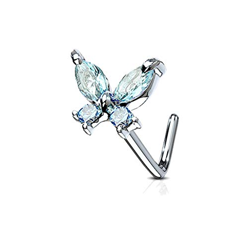 MoBody 20G Nose Ring Stud L-Shaped Cubic Zirconia Butterfly Surgical Steel Body Piercing Jewelry (Aqua) ()