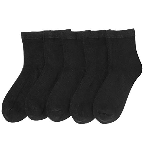 Women Casual Socks Bamboo Lightweight sock Ankle Thin Breathable Odor Resistant Sock 5 Pairs (Black, Medium)