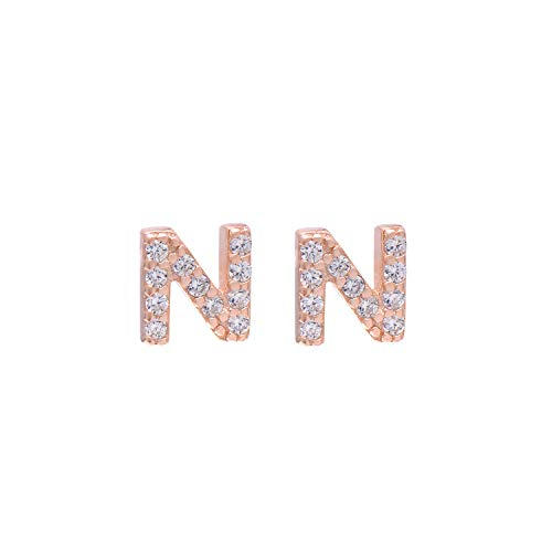 - Paialco Rose Gold Plated Sterling Silver Initial Letter N Studs Earrings for Girl and Women