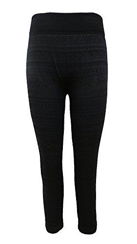 Crush Kids Seamless Printed Fleece Lined Legging Black Size 7-16 - Childrens Fleece Lined Leggings