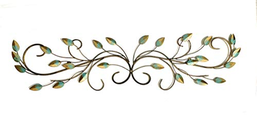 (NEW! Your Home and Beyond Autumn Leaves Metal Wall Scroll Teal Color)