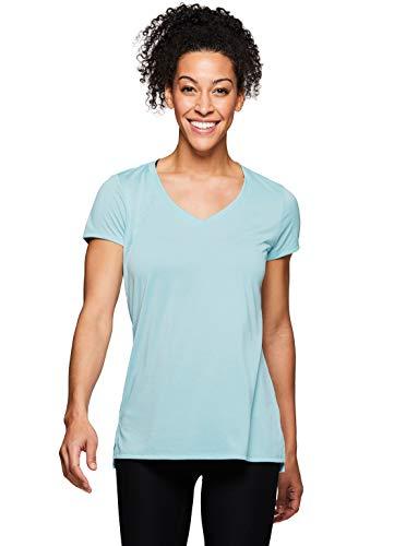 (RBX Active Women's Mesh Back V-Neck Workout Yoga Tee Shirt S19 Blue S)