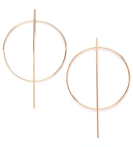 - Hoop Earrings in Gold Color | Modern Bar Big Hoop Earrings Geometric Design nickel free