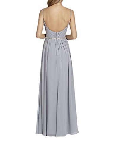 Braut Chiffon Rock Brautjungfernkleider Abendkleider Marie Hell Traeger Lang Ballkleider La A Spaghetti Linie Grau BZnwxp