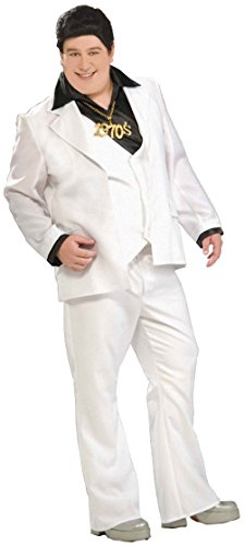 Adult's Mens 1970s White Disco Fever Suit Costume Plus Size X-Large 44-48
