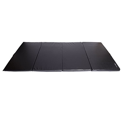 Soozier PU Leather Gymnastics Tumbling/Martial Arts Folding Mat, Black, 4 x 8' x 2'' by Soozier