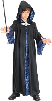 Large Black Childrens Wizard Robe