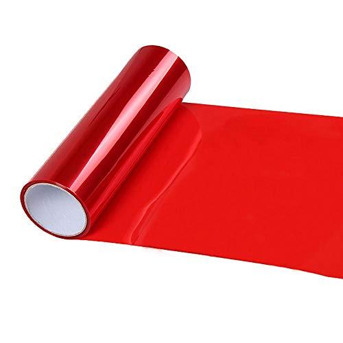 BEESCLOVER 60x30cm Dark Black Car Light Vinyl Film Auto Headlight Taillight Tint Vinyl Sheet Sticker Red ()