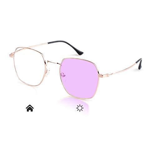 Women Photochromic Glasses Anti-UV Anti-Blue Light Mobile Phone Radiation No Degree Fashion Polygon Frame Sunglasses OM8007C01Z (Best Anti Radiation Glasses)
