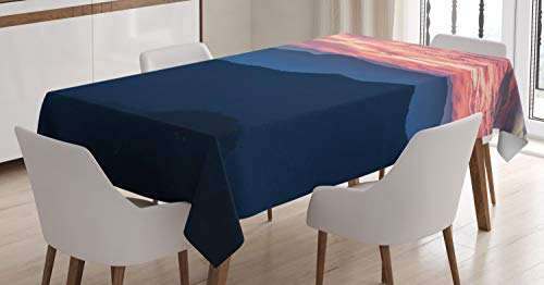 Ambesonne Appalachian Tablecloth, Landscape Photo of Sunset Over Blue Ridge Mountains in Virginia, Dining Room Kitchen Rectangular Table Cover, 52
