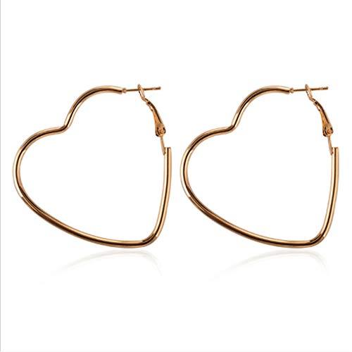 (Meolin Simple Women Girls Exaggerated Hollow Heart Statement Earrings Jewelry Hook Dangle Hoop Earrings for Birthday Gifts,Gold)