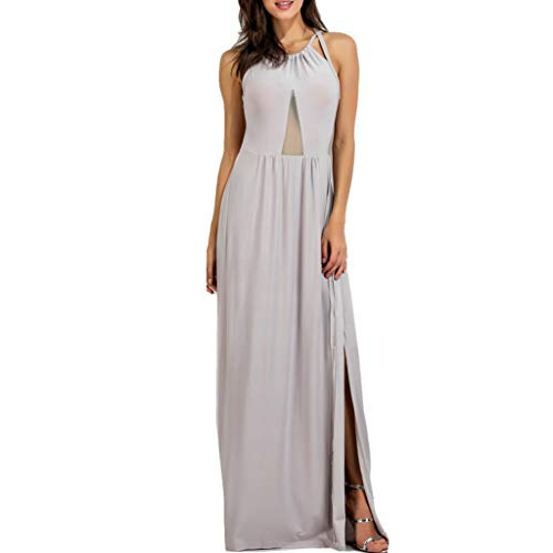 iSovze Women's Pure Color Slit Hollow Out Backless Camisole Long Dress S-XXXXXL Gray ()