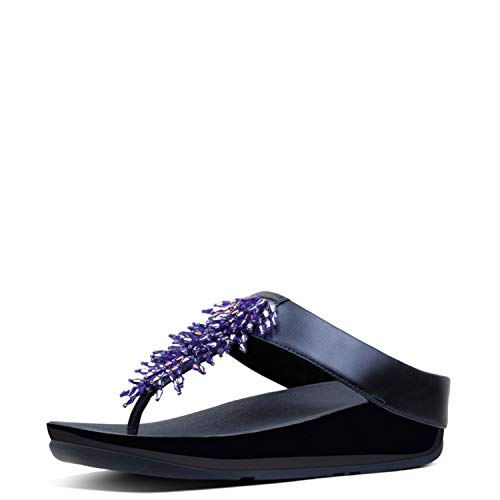 FitFlop Women's Rumba Toe-Thong Sandals Flip-Flop Meteor Blue 7 M US