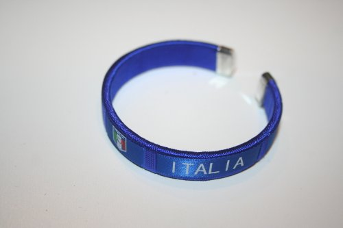 Italia Blue Fifa World Cup Italy Flag Flexible Adult C Bracelet Wristband... 2.5 Inches in Diameter X 0.5 Inches Wide ... New