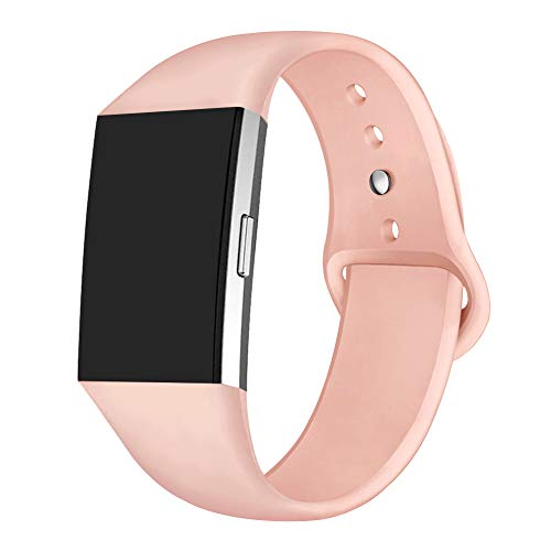 (GHIJKL Sports Band Compatible Fitbit Charge 2, Soft Silicone Replacement Wristband for Fitbit Charge 2,Women Men, Coral Pink, Small)