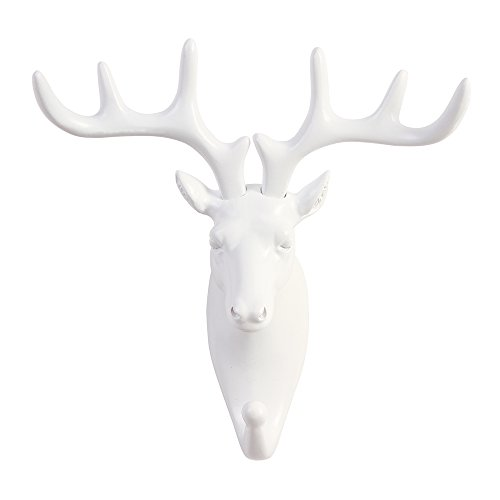 TraPal Deer Head Single Decorative Coat Hook Wall Mounted Rustic Coat Rack Easy to Install Resin Animal Shape Clothes/Garment/Jacket Hanger (Deer-White)