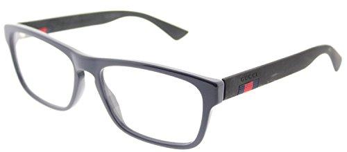 Gucci GG 0174O 008 Blue Plastic Rectangle Eyeglasses - Gucci Glasses Blue