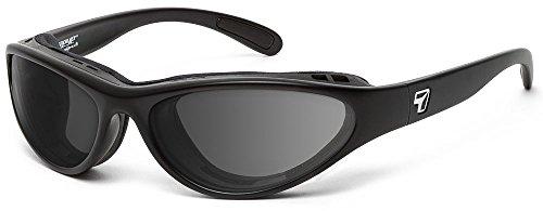 7eye by Panoptx Viento Frame Sunglasses with Polarized Gray Lenses, Matte Black, Small/Medium
