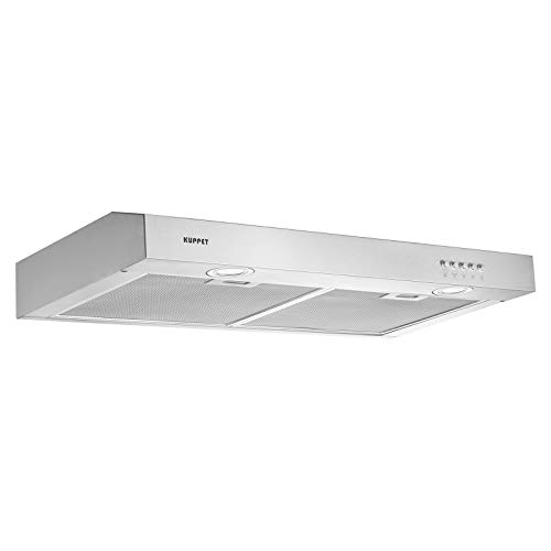 KUPPET CE53 30'' Under Cabinet Range Hood, Tempered Glass with High-End LED Lights, Aluminum Mesh Filter, Push Button 3 Speed Controls, Silver Stainless Steel by KUPPET